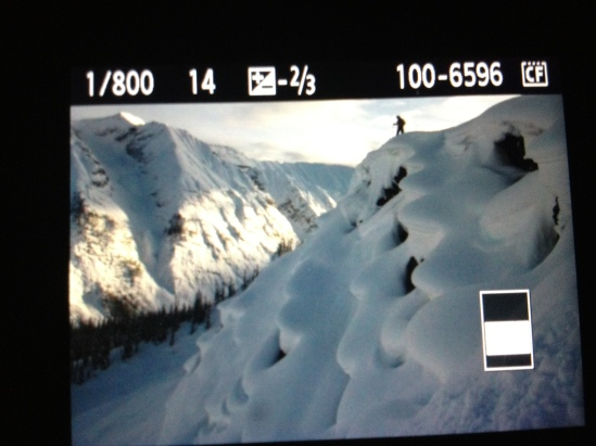 photo of a photo. Dylan Crossman scoping a nice pillow line at Chatter Creek.